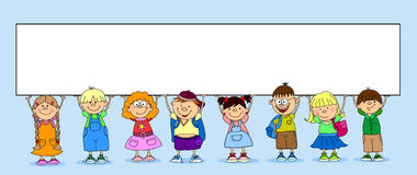 Cute students hold a banner vector Royalty Free Stock Photography