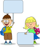 Cute students hold banners, vector Stock Image