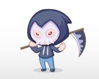 Cute Style Boy dressing in Grim Reaper Costume Illustration vector illustration