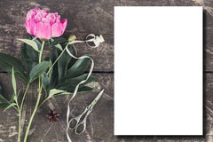 Cute and stylish branding mockup photo wit peonies. Stylish branding mockup to display your artworks. Cute vintage mock up on wooden background. Flat lay top royalty free stock image