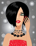 Cute stylish brunette. Vector image of a cute stylish brunette Stock Images