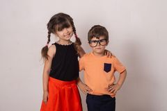 Cute stylish children back to school. stock photography