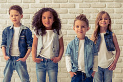 Cute stylish children Royalty Free Stock Images