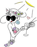 Cute stylish doodle girl with cocktail Stock Photos