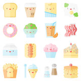 Cute stylish food flat icons Royalty Free Stock Images