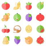 Cute Stylish Fruits Flat Icons Royalty Free Stock Photo