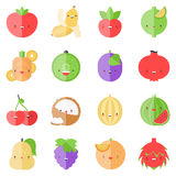 Cute stylish fruits flat icons Royalty Free Stock Photo