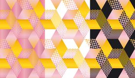 Cute and stylish geometric shapes mosaic. In pastel colors. Geometry cube and hexagon seamless pattern with sunny yellow and tender rosy colors. Seamless Stock Photo