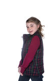 Cute stylish girl in plaid vest and freckles Royalty Free Stock Image
