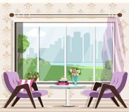 Cute stylish living room interior set: armchairs, table, window. Graphic furniture. Luxury room interior design. stock illustration