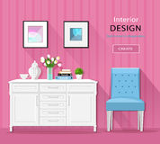 Cute stylish room interior furniture: commode, chair, pictures with long shadows. Flat style. Stock Image