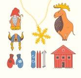 Cute stylish scandinavian set with moose, gnome, snowflake, skii Stock Photo