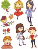 Cute and Stylish Teen Girl Vector Doodle Illustration. For many purpose such as book, stationary print on purse, bag, diary, sticker, poster, wallpaper, mug Stock Illustration