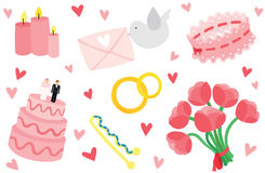 Cute & Stylish Wedding Items Set Stock Photo