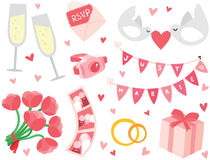 Cute & Stylish Wedding Items Set Royalty Free Stock Photography