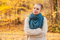 Cute stylish woman relaxing alone in the forest Stock Photos