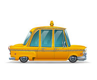 Cute stylized car vintage yellow New York Taxi isolated on white background. Royalty Free Stock Photography