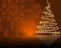 Cute stylized  Christmas tree on decorative mandala background Stock Image