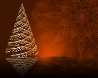 Cute stylized  Christmas tree on decorative mandala background Stock Photography
