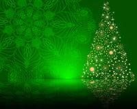 Cute stylized  Christmas tree on decorative mandala background Royalty Free Stock Photos