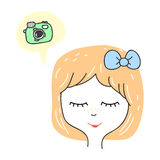 Cute stylized girl portrait. Cartoon character teenager dreaming about camera.  Royalty Free Stock Image