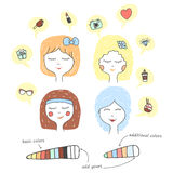 Cute stylized girl portrait. Cartoon character teenager dreaming. Hand drawn icons in speech bubbles. Pastel colors Royalty Free Stock Photography