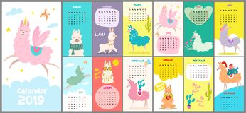 Cute, stylized hand-drawn monthly calendar for 2019 with a lama. Can be used for banner, poster, card, postcard and printable. royalty free illustration