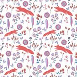 Cute stylized seamless pattern with flowers and foxes. Funny vector background Royalty Free Stock Photography