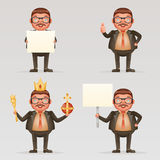 Cute successful businessman cheerful king crown on head power and scepter in hands blank paper thumb up 3d cartoon. Cute successful businessman cheerful king Royalty Free Stock Photo