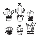 Cute Succulent and Cactus Hand Drawn Doodles Sketch Vector Illustration. vector illustration