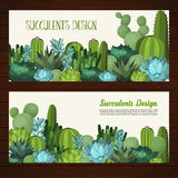 Cute succulent vector banners. Colorful design elements for for illustrations, greeting cards and wedding invitations Stock Photography