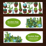 Cute succulent vector banners. Royalty Free Stock Images