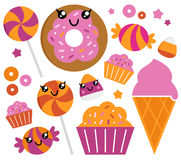 Cute sugar candy set Stock Illustration