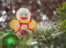 Cute sugar cookie girl in Christmas wreath Stock Photography