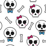 Cute sugar skull boy and girl seamless pattern. Vector Royalty Free Stock Photo