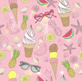 Cute summer abstract pattern. Seamless pattern with ice creams Stock Photography