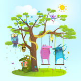 Cute summer animals freinds playing under the tree, swinging, reading. Colorful happy childish monsters creatures and owl frienship. Vector illustration Stock Images