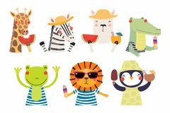 Cute summer animals set stock illustration