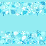 Cute summer background with different shells and starfishes as seamless borders Royalty Free Stock Images
