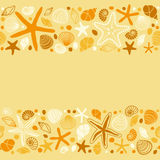 Cute summer background with different shells and starfishes as seamless borders Stock Photography