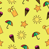 Cute Summer Background. Seamless summer background with cute design Royalty Free Illustration