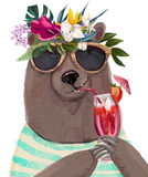 Cute summer bear. With floral wreath and cocktail vector illustration