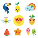 Cute summer cartoon characters set Stock Photos