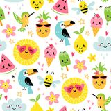 Cute summer characters seamless pattern vector illustration