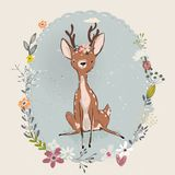 Cute summer deer. With floral wreath. vector card Royalty Free Stock Photography