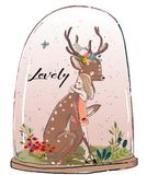 Cute summer deer with hare. Cute watercolor sleepong young summer deer with hare Royalty Free Stock Photo