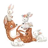 Cute summer deer with hares vector illustration