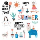 Cute Summer Design Scandinavian Set Stock Image