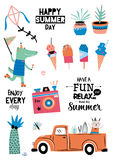 Cute Summer Design Scandinavian Set Stock Images