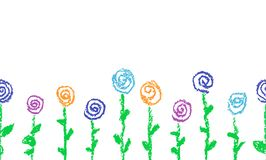 Seamless border with crayon drawn colorful flowers. Set of like child`s drawn pastel chalk blooming roses. Cute summer flowering meadow. Vector hand drawing Royalty Free Stock Photography